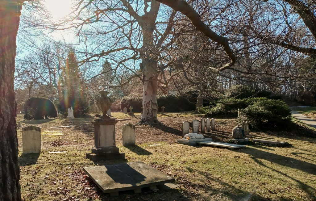 Cemetery monuments on a sunny day
