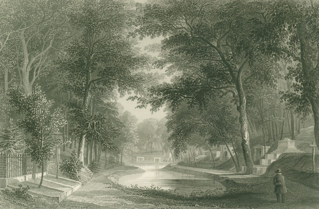 Lush landscape view of a pond with trees, tombs, and a man standing, back to us, in right foreground. At the far end of the pond are two tombs.