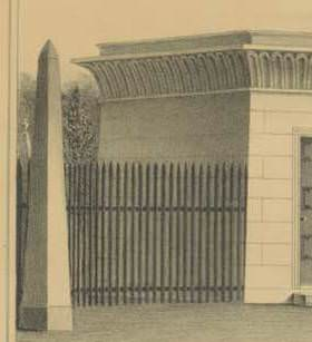 Close-up of Gate of Mount Auburn Cemetery. Pendleton's Lithography, Boston. 1834.