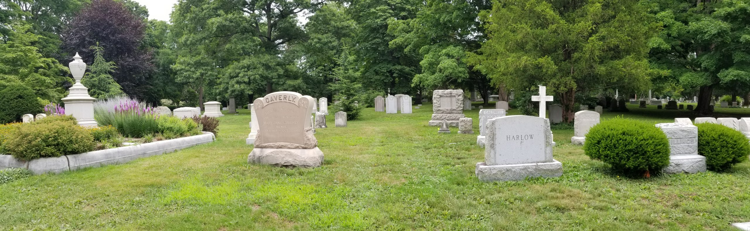 A flat grassy area populated with large, historic family lots. Sections of open space, about 3 feet in width separate one lot from another and provide space for new graves.