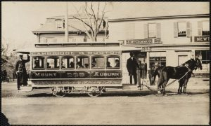 Cambridge & Boston Railroad street car. Bank, horse car, Hyde's Block, Hyde's House. Newton Corner, Newton, MA [ca. 1850–1905]