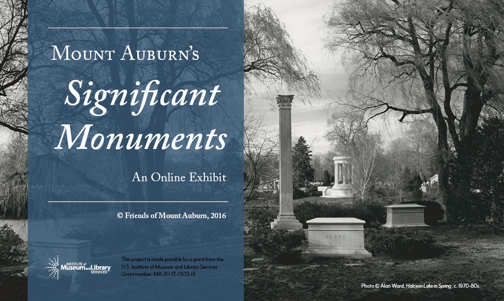 Poster for Significant Monuments Exhibit with a black and white image of Cemetery illustrating a variety of monument types and styles.