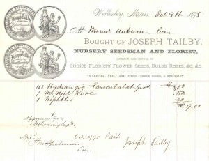 Invoice from Joseph Tailby, Nursery Seedsman and Florist, 1875.