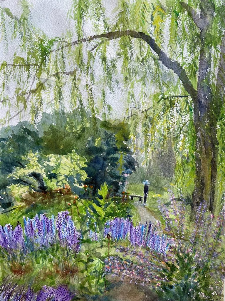 watercolor painting of trees and a person in the distance
