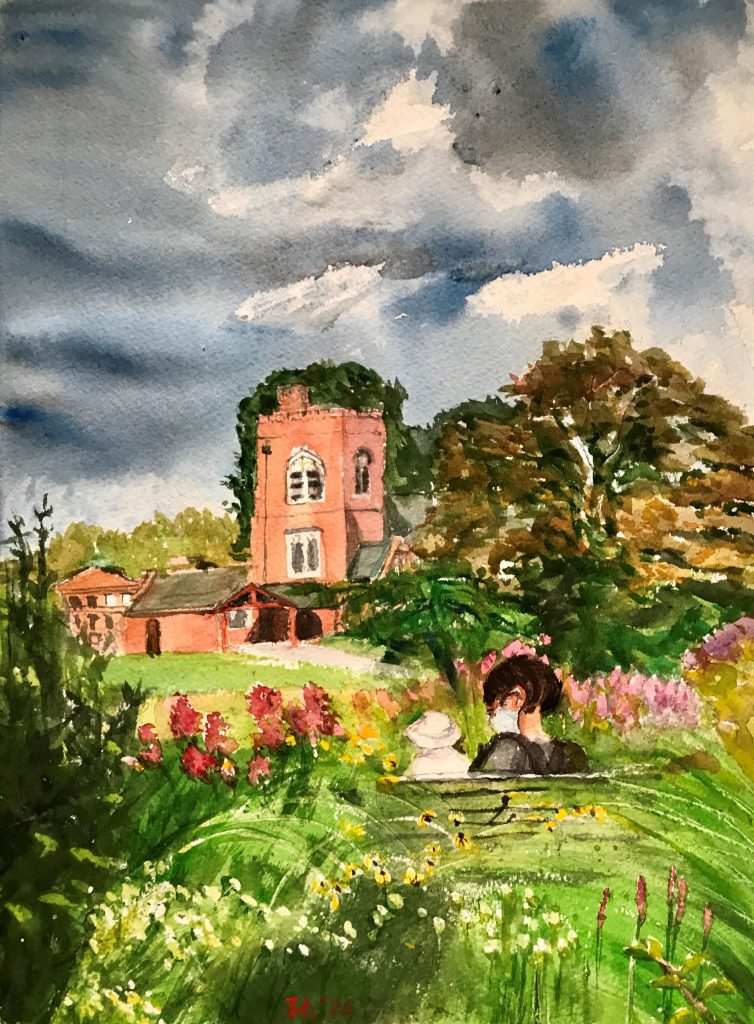 watercolor painting of garden and chapel